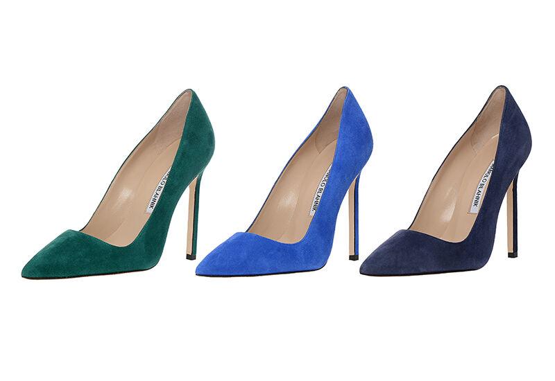 New Manolo Blahnik BB 115 Green Suede shoes Heels Pumps 36.5 38.5 41.5