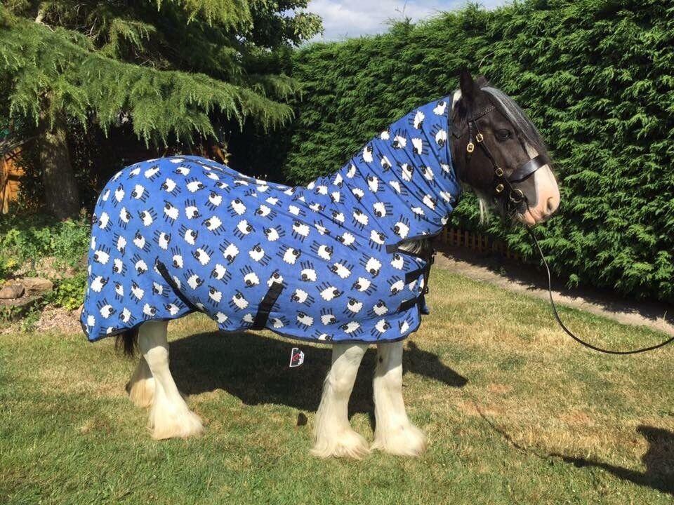Fleece Rug Combo, bluee + Sheep, 4ft, FREE Headband, FREE UK Postage