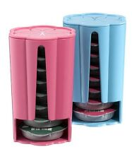 2 x Tassimo Koziol Stack T Disc Pod Holders - Each Holds 8 Discs Pink Turquoise