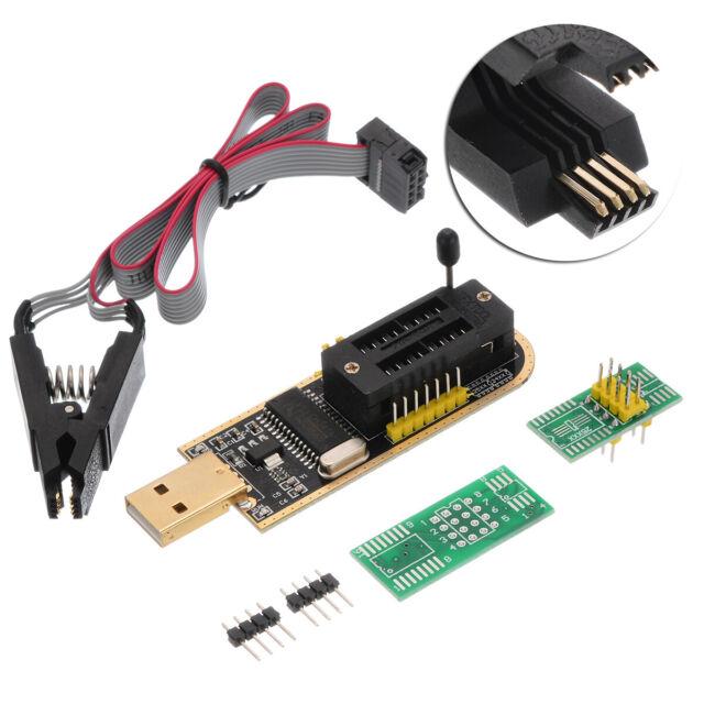 24 25 Series EEPROM Flash BIOS USB Programmer SOIC8 Clip On-Board Kit /AU