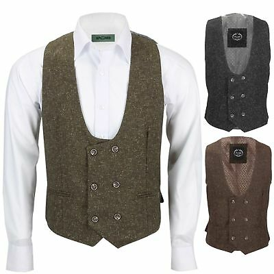 New Mensdouble Breasted Tweed Wool Waistcoat Vintage Smart Casual Slim Fit Vest