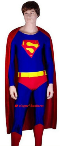 Mens Man Super Hero Superhero Superguy Fancy Dress Costume Bodysuit S M L XL XXL