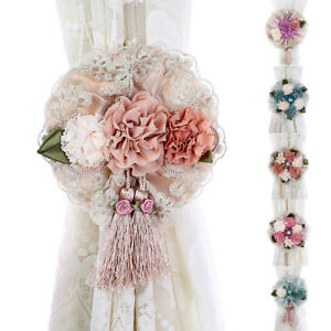 2Pcs-Window-Curtain-Tieback-Clip-on-Rose-Flower-Tie-Holder-Drape-Decor-Welcome