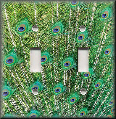 Metal Light Switch Plate Cover Fanned Peacock Feathers Green Home Decor Peacock