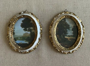Set-Of-2-Vintage-Miniature-Landscape-Pictures-In-Oval-Victorian-Frames-Italy