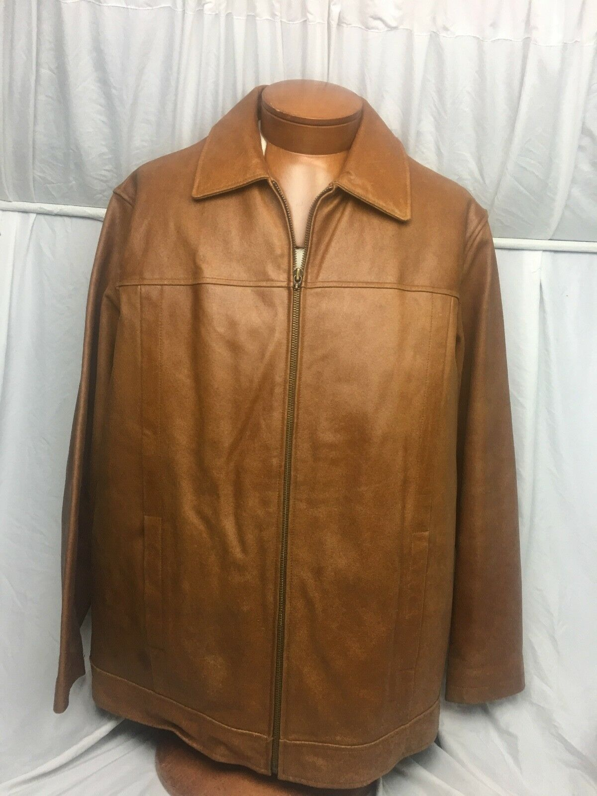 M. JULIAN  for Wilsons Brown Distressed Leather Heavy Coat Zip L NICE