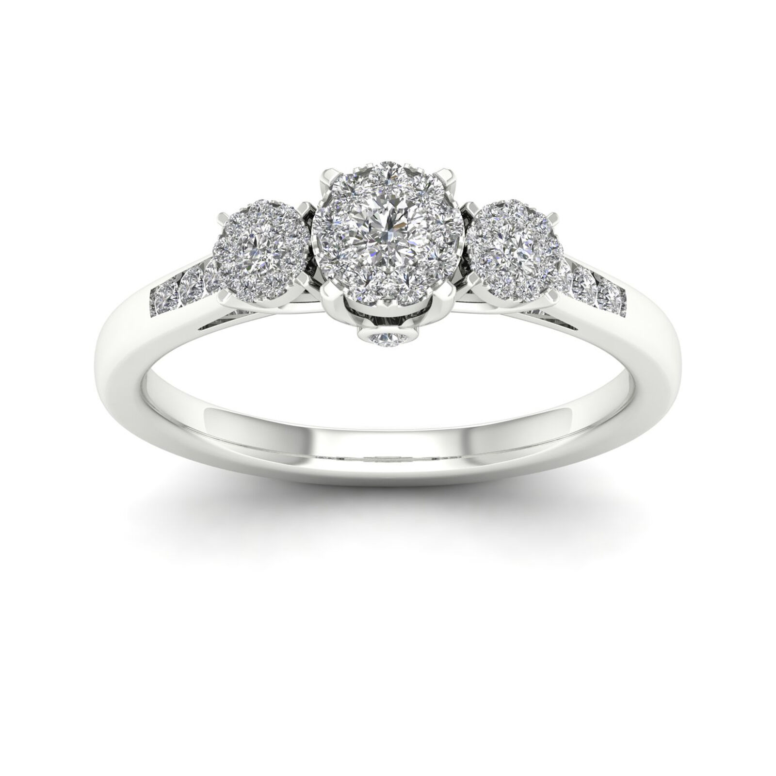 10k White gold 1 3ct TDW Diamond Three Stone Engagement Ring
