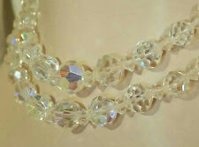 Pretty Vintage 50's AB Crystal Rhinestonr 2 Strand Necklace 319D5