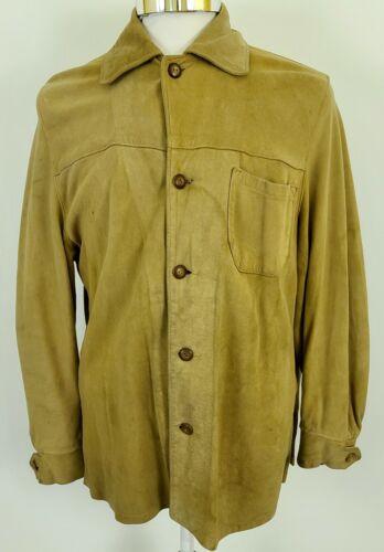 Vtg 40s 50s L.L. Bean Deerskin Suede Leather Shirt