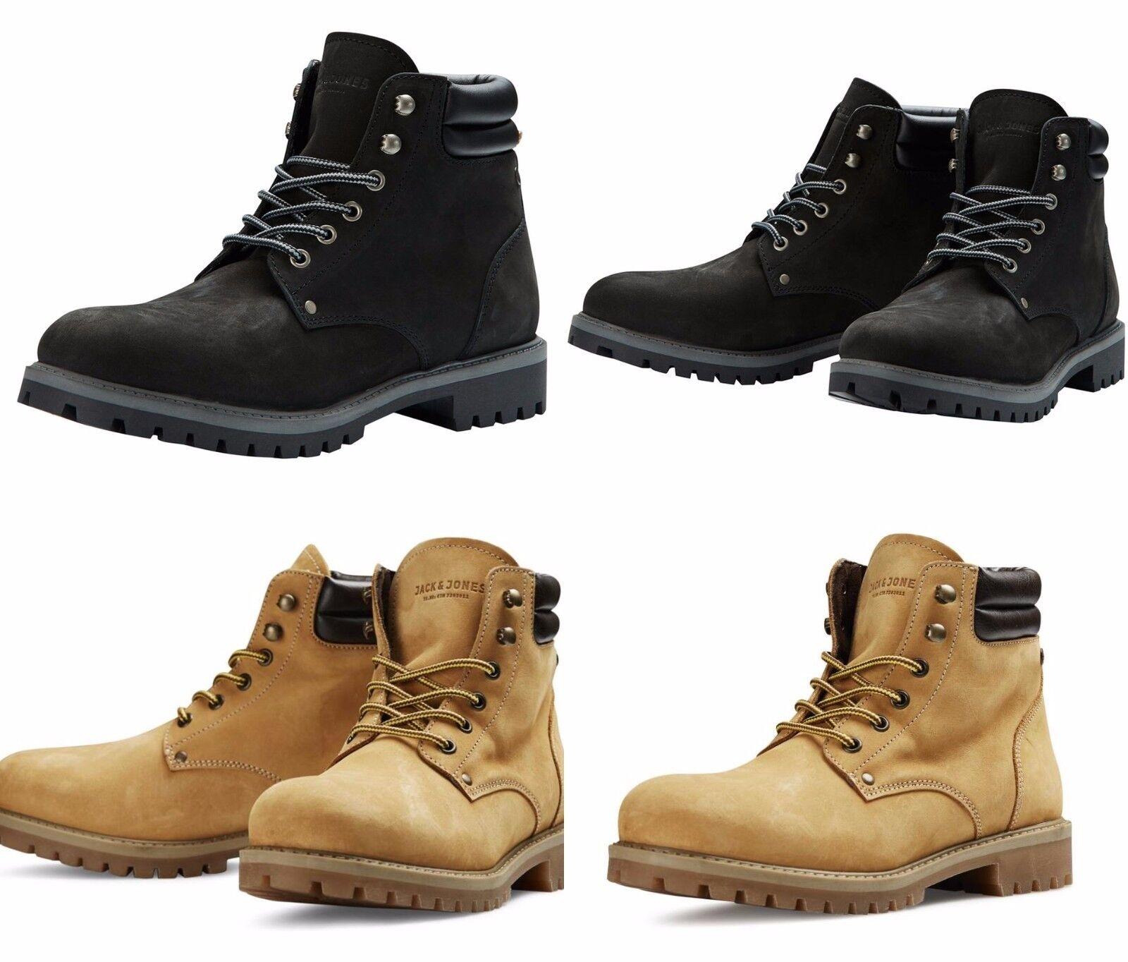 Mens JACK & JONES Leather Boots New Black Brown Lace Ups Nubuck Sale Size 7-12