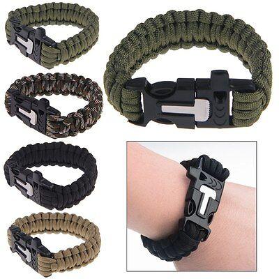 Survival Bracelet Outdoor Paracord Scraper Whistle Flint Fire Starter Gear Kits