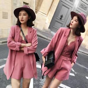 2pcs Womens Korean Style Formal Dress Suits Shorts Jacket Lapel Coat