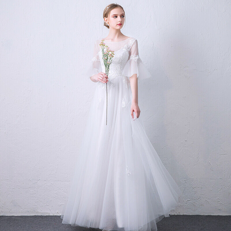 Modern style ruffly sleeve wedding dress simple elegant romantic bridal gown