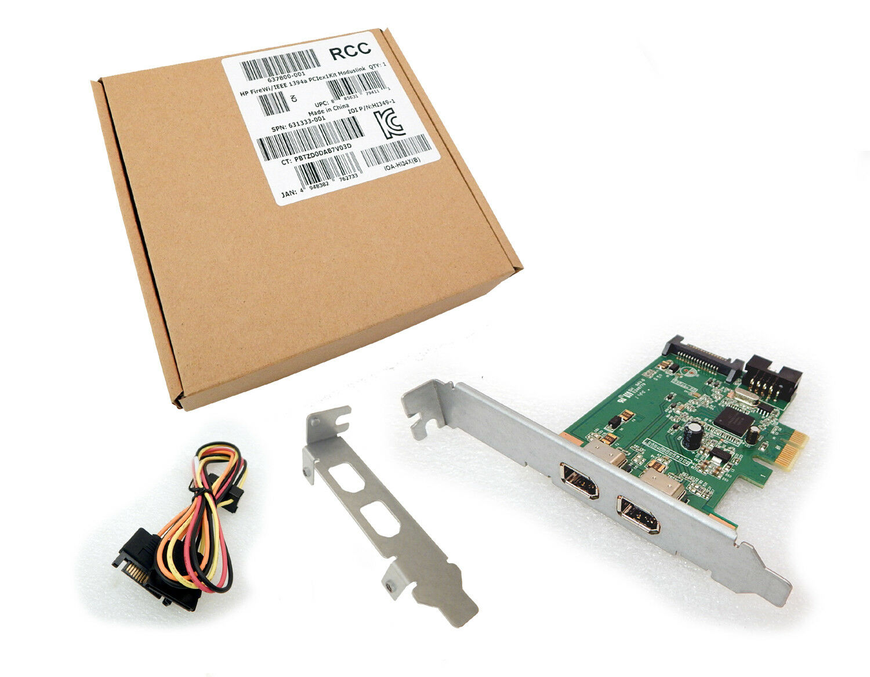 HP FireWi IEEE 1394a PCIe x1 2-Port Card Kit New 6378001 633133-001