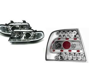 led r ckleuchten tagfahrlicht scheinwerfer audi a4 b5 c ebay. Black Bedroom Furniture Sets. Home Design Ideas