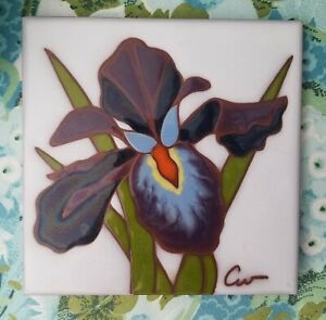 BEAUTIFUL Semigres - Italy - Colorful Iris Flower - Ceramic Tile Wall Hanging