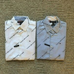 NWT-Tommy-Hilfiger-Men-039-s-All-over-Logo-Slim-Fit-Oxford-Short-Sleeve-Causal-Shirt