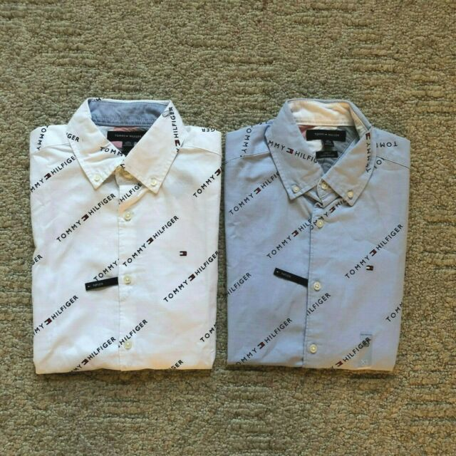 Gray L NWT TOMMY HILFIGER men Casual Short Sleeve Shirt Large New York Fit