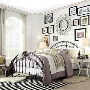 Metal Bed Frame Queen Victorian Iron Dark Bronze Finish Bedroom