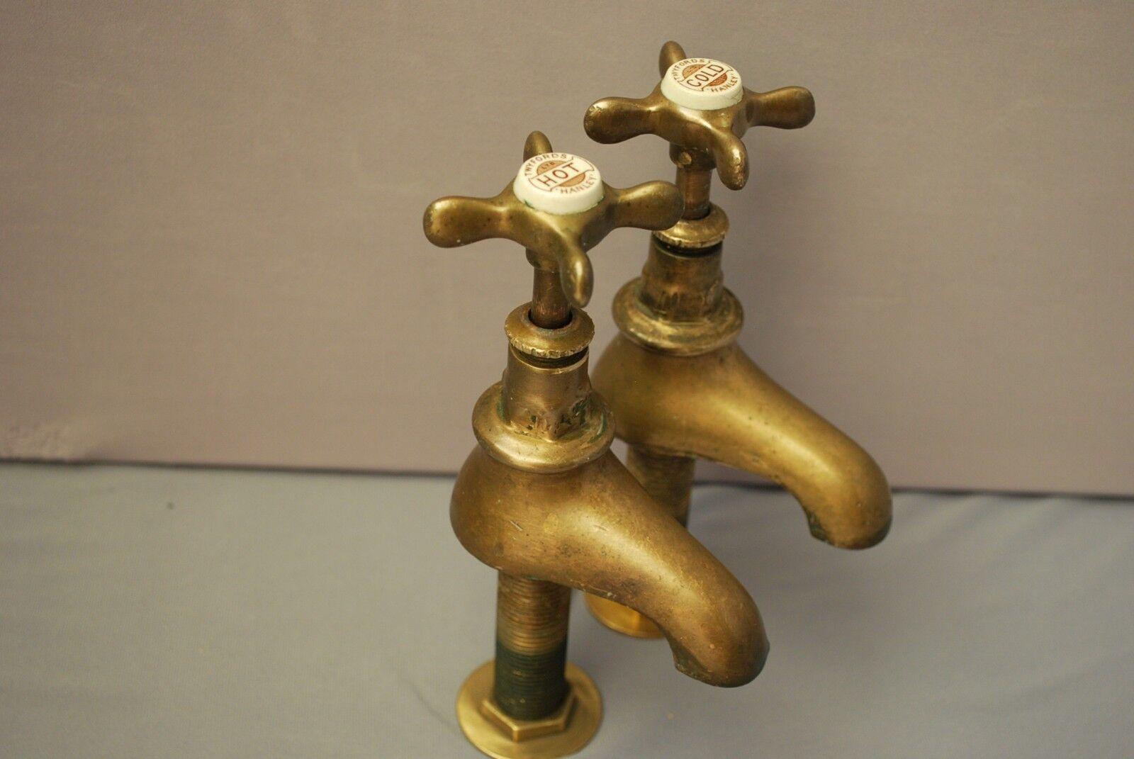 Laiton bassin robinets Original Patine robinets Reclaimed & entièrement remis à neuf ANCIENS ROBINETS