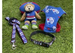 WESTERN BULLDOGS AFL Football Dog Collar, Lead, Harness FUNKY FIDO; Express Post