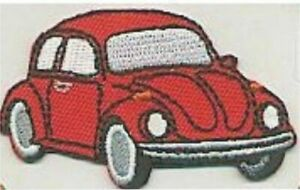 """2.5"""" Red Beetle Vehicle Car Facing Right Embroidered Patch"""