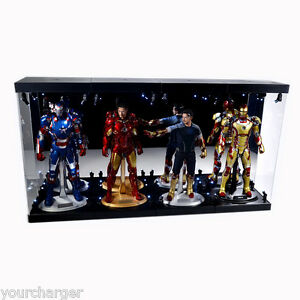 "Acrylic Display Case Light Box for FOUR 12/"" 1//6th Iron Man Mark 17 33 XLI Figure"