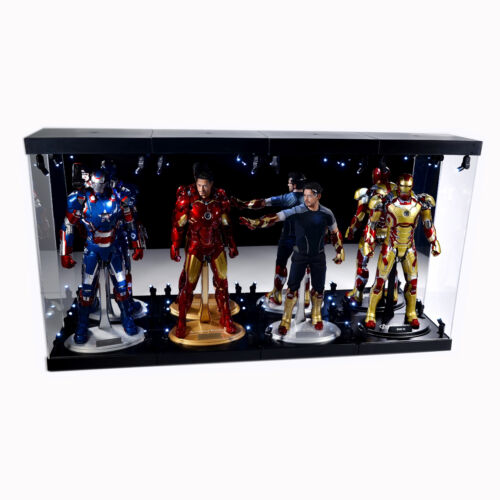 MB-4 Acrylic Display Case LED Light Box for four 12 1/6th Scale IRON MAN Figure