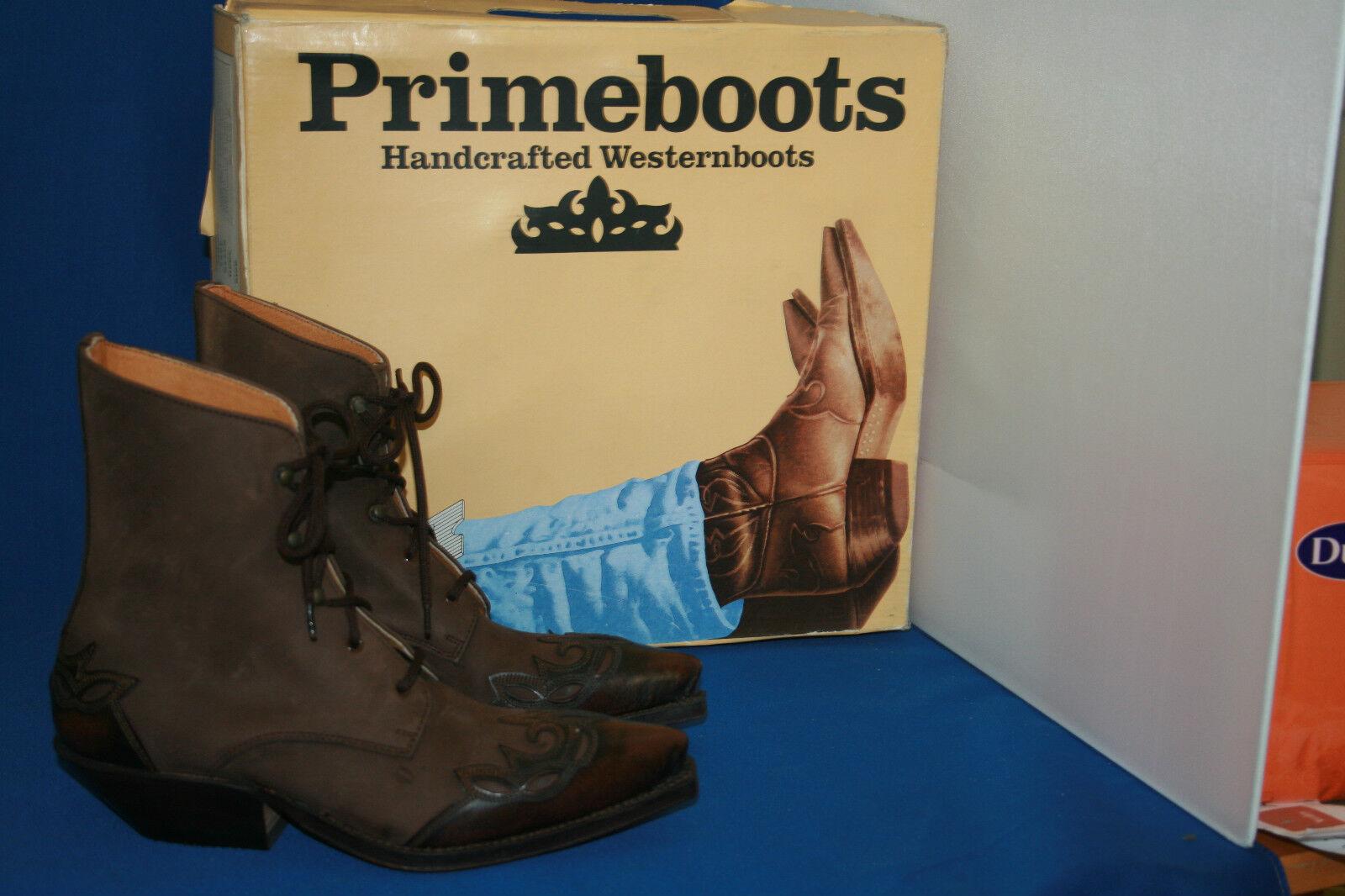 Prime botín Western bota botas vaqueras botas talla. 38 nuevo cuero marrón