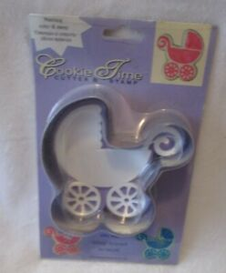 NEW-IN-PACKAGE-METAL-BABY-STROLLER-4-034-COOKIE-CUTTER-amp-STAMP-SET-SHOWER-FAVORS