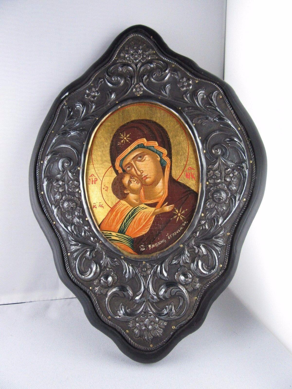 C470 ⭐⭐  Vintage Byzantinische Griega Icono   950 Plata y 24 - Quilates⭐⭐