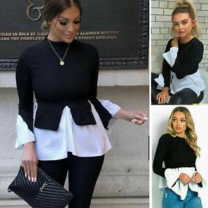 Ladies-Women-039-s-Layered-Puff-Sleeve-Frill-Shirt-Hem-Top-Blouse-Jumper-New-UK