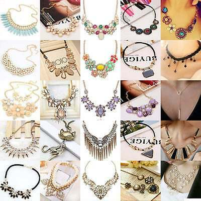 Delicate New Jewelry Chain Pendant Statement Bib Crystal Choker Chunky Necklace