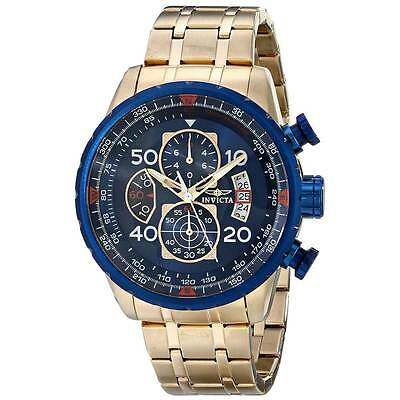 Invicta 19173 Gent's Chrono Blue Dial Yellow Gold Steel Date Watch