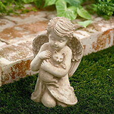 Outdoor Statue Cherub With Cat Garden Sculpture Statues Home Decor Art 7  Inch