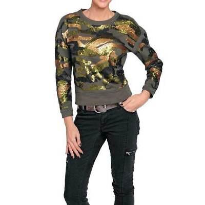 Sweatshirt Versandhaus. Khaki mit Pailletten-Besatz. NEU!!! KP 49,90 € SALE%%%