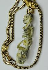 MUSEUM Victorian Memento Mori Skull/Skeleton 18k gold pocket watch chain fob
