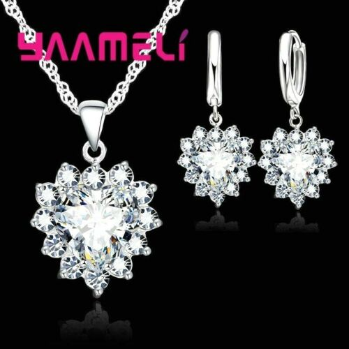 925 Sterling Silver Clear CZ Crystal Heart Pendant  Necklace And Earring Set UK