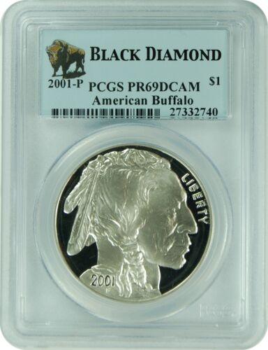 2001-P PCGS PR69DCAM Black Diamond American Buffalo Indian Head Facing Forward