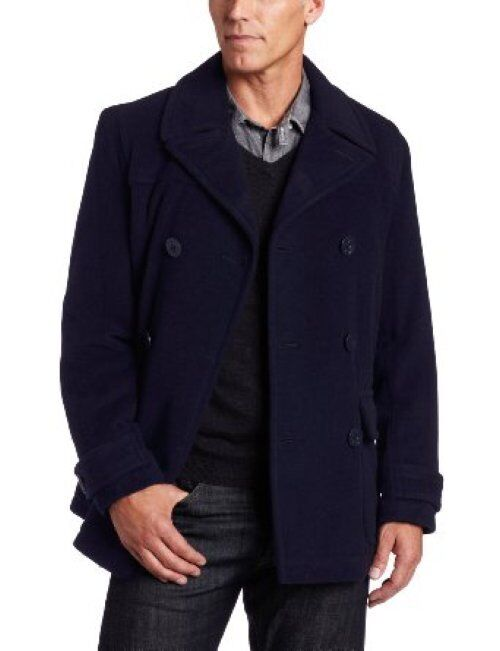 250 Tommy Hilfiger Navy Blau Double-Breasted Wool Winter Coat w/ Quilted Liner