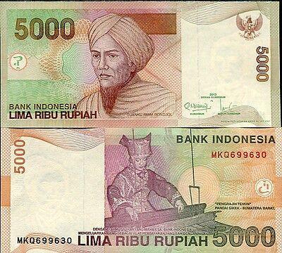 INDONESIA 5000 Rupiah 2013 P142m UNC Banknote