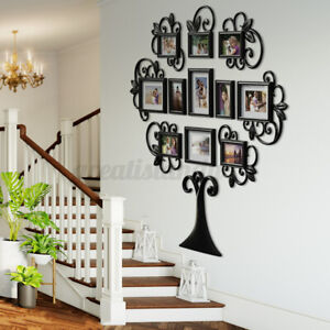 12 Piece Family Tree Photo Picture Frame Collage Set Black Wall Art Home Decor