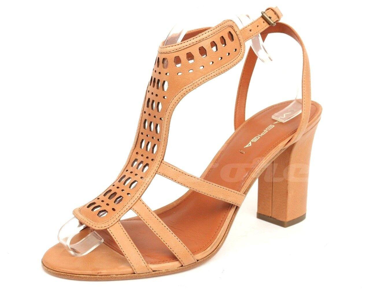 Damenschuhe VIA SPIGA Tan Braun Leder Ankle Strap Sandales Sz. 10 M