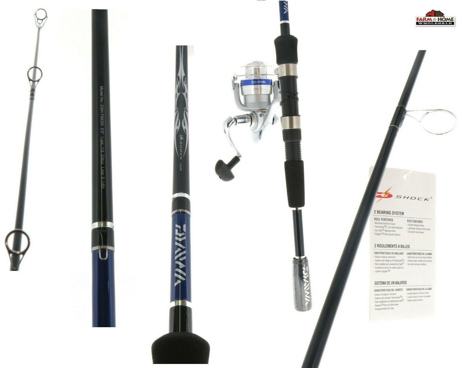 6'6  Daiwa Fishing Pole Spinning  Rod Reel Combo  DSH25-2B F662M   New  more discount