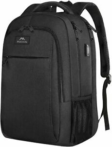 "Matein Men's Black 17"" Anti-Theft Travel Laptop Backpack School Bag USB Charging"