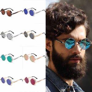 New-Vintage-Steampunk-Sunglasses-Fashion-Round-Mirrored-Retro-Eyewear