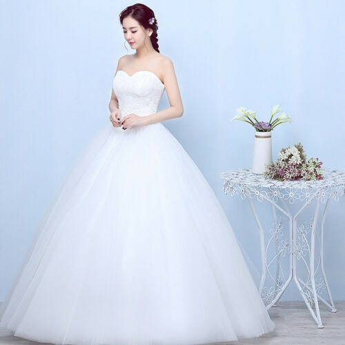 Bridal Wedding Dresses Women White Strapless Princess Gowns Sweetheart Dresses