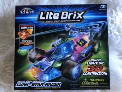Cra-Z-Art Lite Brix Lite Up LUMI-STAR RACER Race Car Building Set Brand NEW