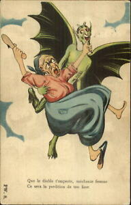 Devil-Demon-Flys-Away-w-Woman-Fantasy-French-c1915-Postcard-G19