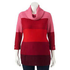 Juniors' Plus Size Stevie and Lindsay Colorblock Maroon Sweater Size 3x(22-24)